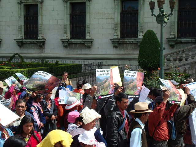 Communities resisting the Marlin mine begin their march at the National Palace, Guatemala City.