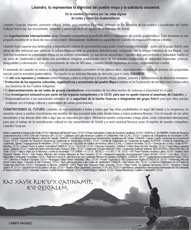 Paid Ad published in Prensa Libre calling for justice for Lisandro Guarcax