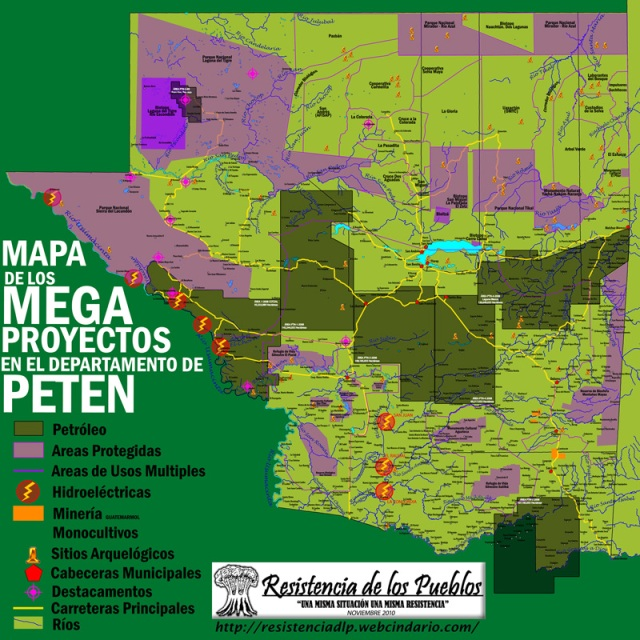 Map of Megaprojects in the Petén