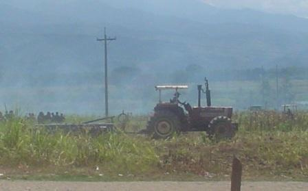 Tractor used to destroy crops during eviction in the Polochic Valley, Guatemala. (Photo: FGT/CUC)