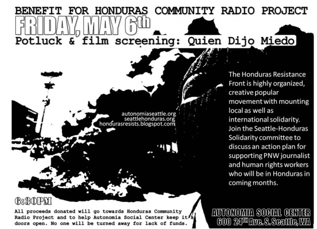 """Benefit screening of """"Quien Dijo Miedo,"""" 6:30 pm at Autonomia in Seattle, 600 24th Ave S."""