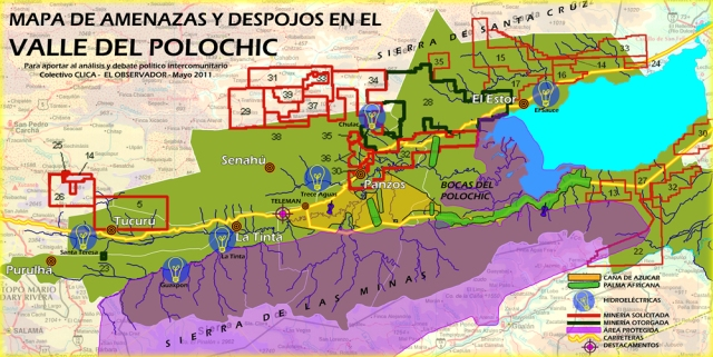 Map of megaprojects in the Polochic Valley