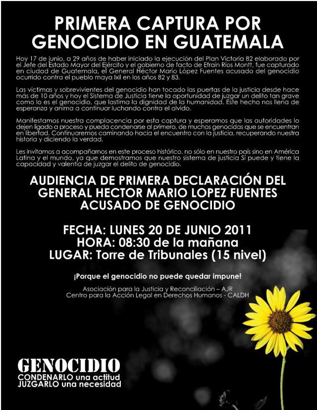 Primera captura por genocidio en guatemala