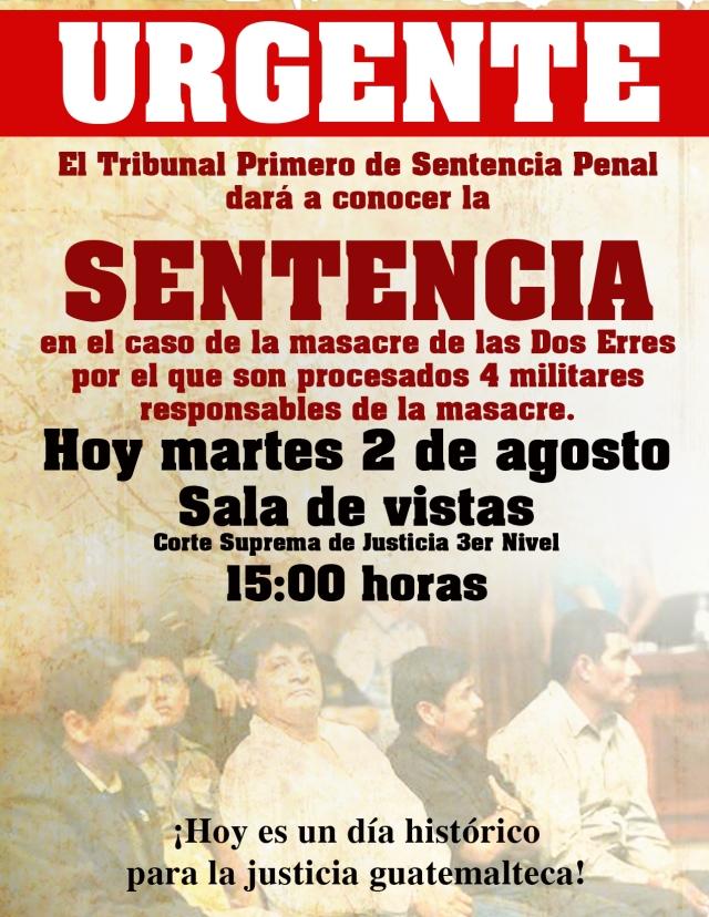 Sentencia hoy en caso de la masacre de Las Dos Erres