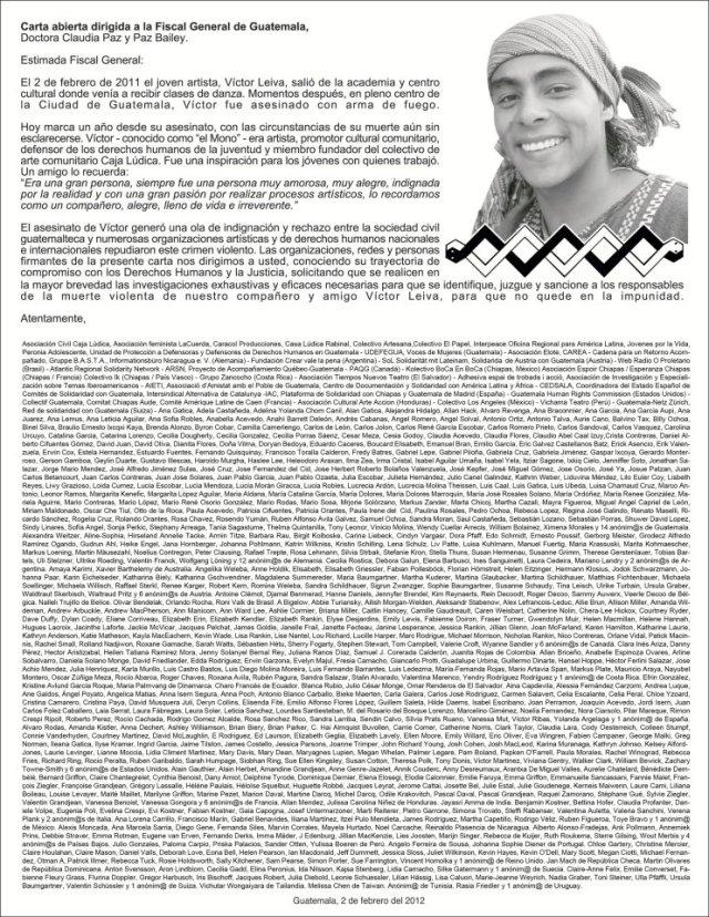 Comunicado exige justicia a un año del asesinato de Victor Leiva