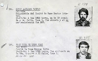 "Extract from the Guatemalan ""Military Diary,"" a military intelligence register of detained individuals, most of whom were disappeared.  The code ""-300-"" is interpreted to mean that the individual depicted was executed."