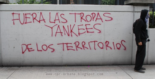 """Yankee troops out!"" Graffiti rejecting international militarization in Guatemala City. (Photo via CPR-Urbana)"