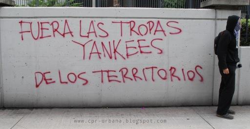 """Yankee troops out!"" Graffiti rejecting international militarization in Guatemala City. (Photo via CPR-Urbana)"