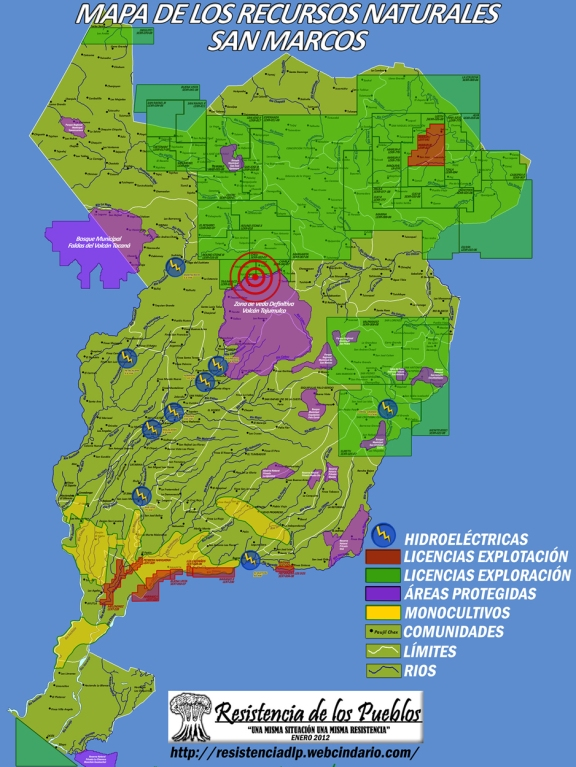 Map of natural resources in San Marcos, with Tajamulco area indicated. (Map via Resistencia de los Pueblos)