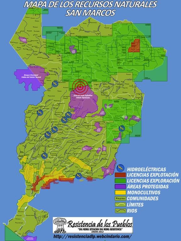 Map of natural resources in San Marcos, with Tajamulco area indicated. (Map via Resistencia de los Pueblos)